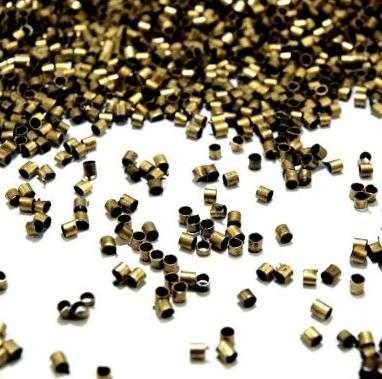 1g - cca 100ks Zamačkávací rokajl Ø2mm - kov, staromosaz,