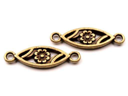 Zrnko s květem - mezikus - bižuterní kov, staromosaz, vintage, starobylý, výroba šperků, scrapbook, cardmaking