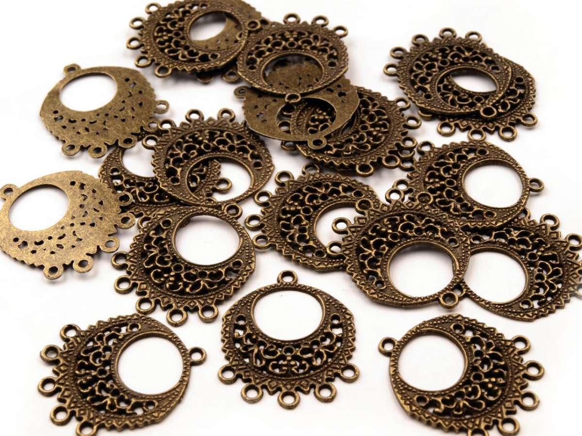 Ramínko filigránový kroužek 5 oček - bižuterní kov, staromosaz, vintage, výroba šperků, naušnic,