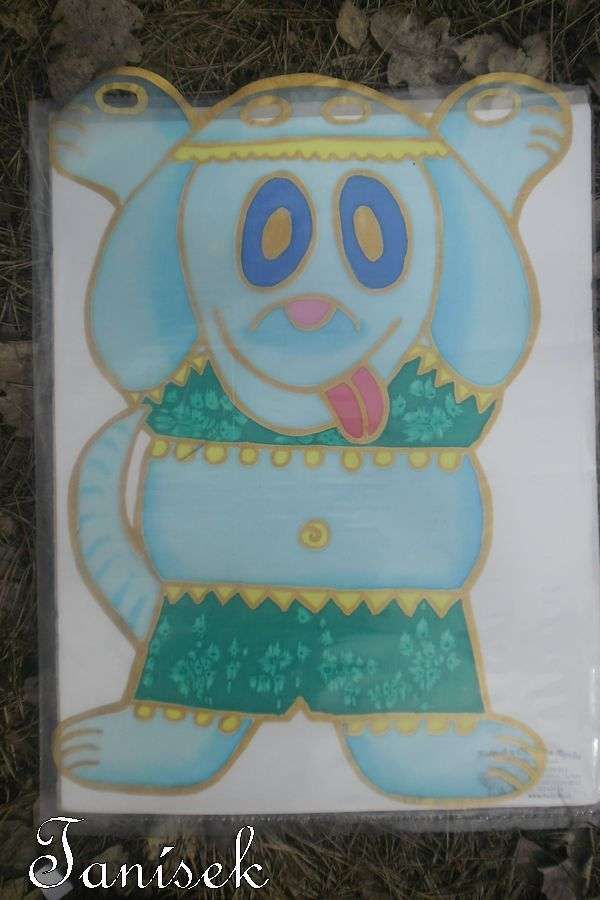 """Modrý pejsek - břišní tanečnice - ručně tvořená malovaná záclonka Veronika """"Tanísek"""" Kocková"""
