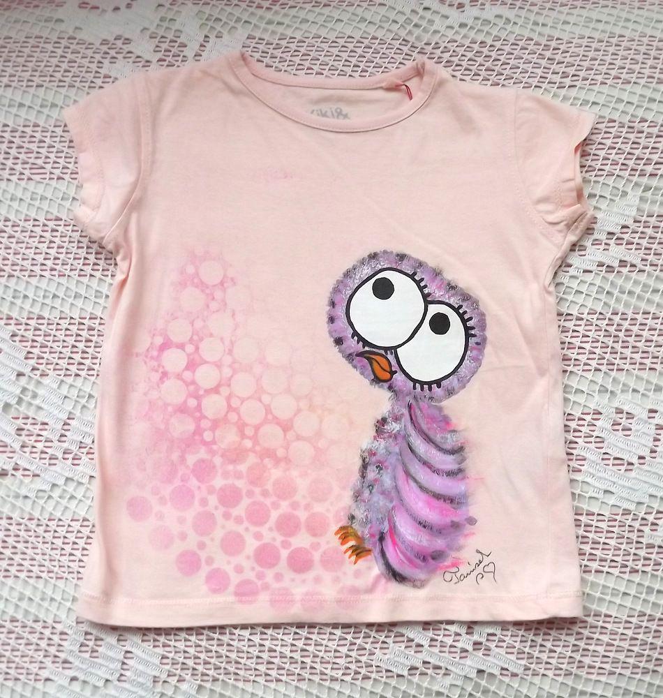 Veselá sovička na růžové bavlněném tričku s krátkým rukávem velikost 98