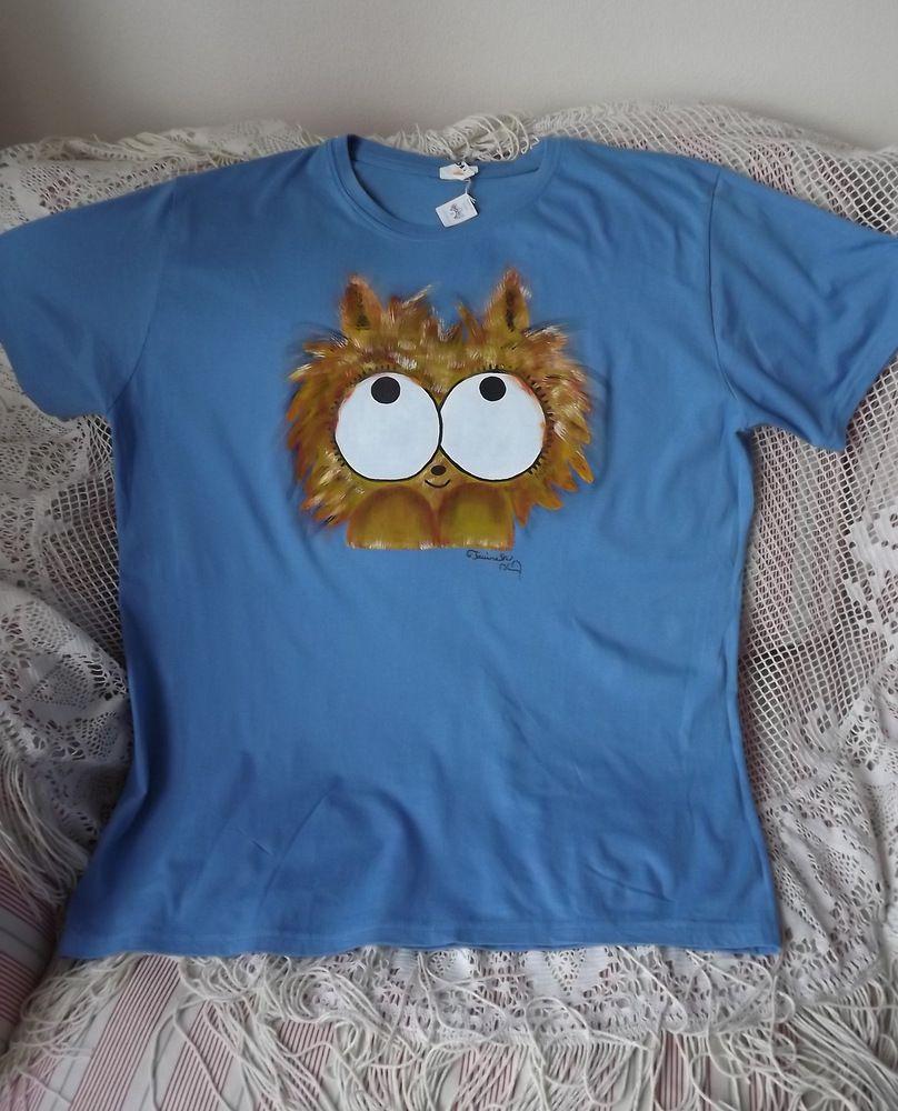 Modré triko s ručně malovaným chlupatým králíčkem - krátký rukávem, velikost xl