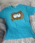 Tyrkysové triko s ručně malovaným chlupatým králíčkem - krátký rukávem, velikost xl