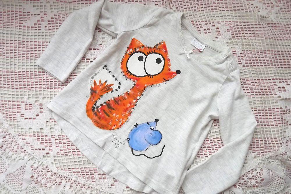 šedé bavlněné tričko s ručně malovanou liškou a myškou, s dlouhým rukávem, velikost 92