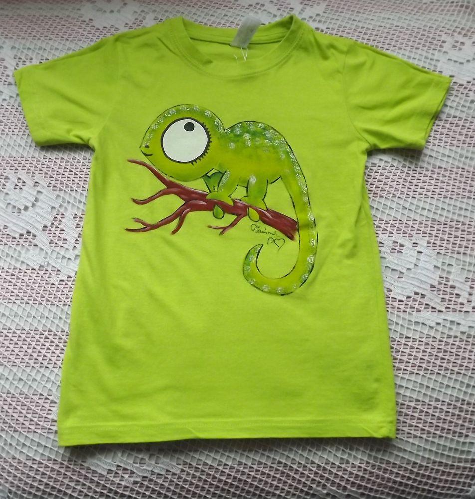Chameleon zelený  ručně malované zelené tričko s veselým chameleonem velikost 122