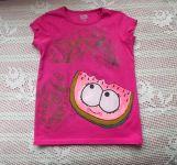 Šťavnatý meloun namalovaný na růžovém tričku dekorovaném i zezadu- velikost 122