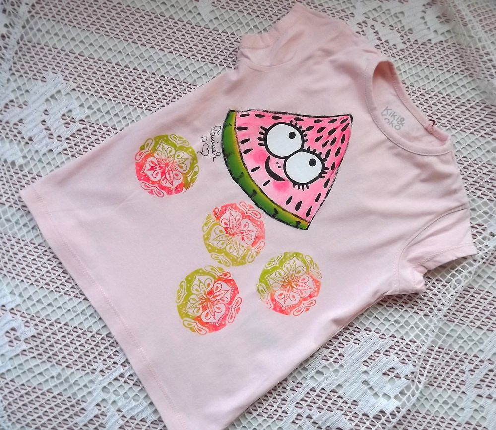 Ručně malované tričko s melounem. velikost 92