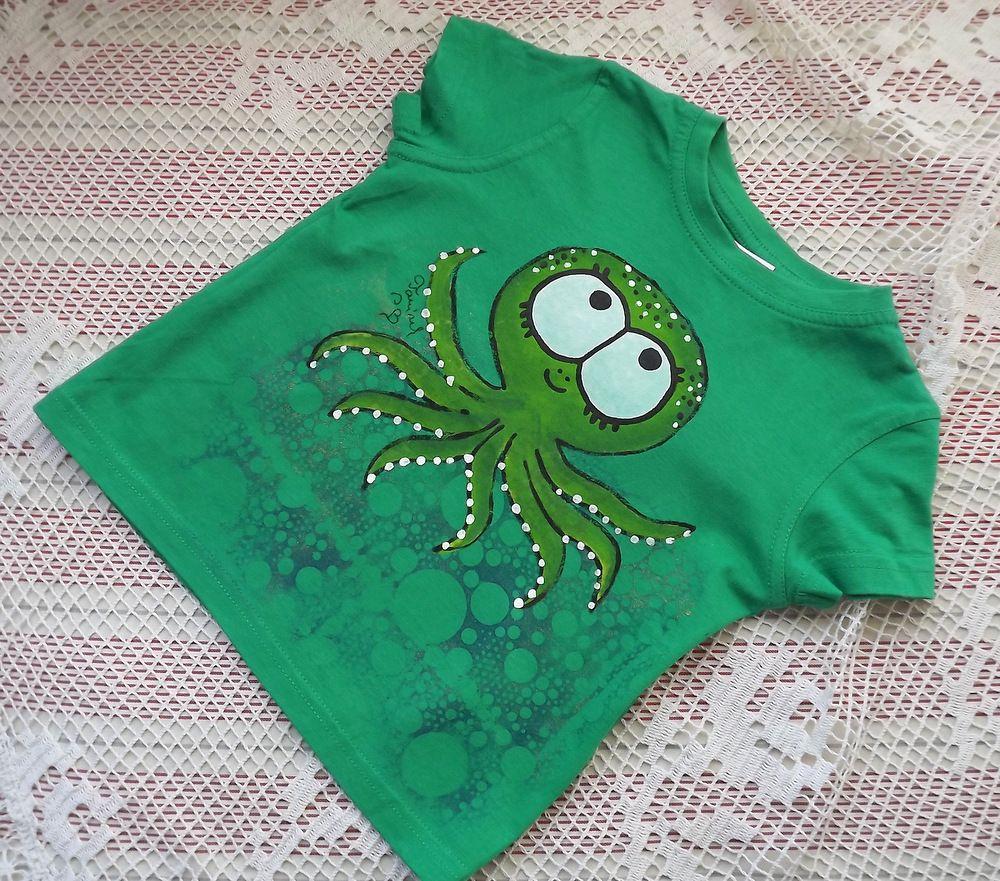 Ručně malované zelené bavlněné tričko s chobotnicí - velikost 92