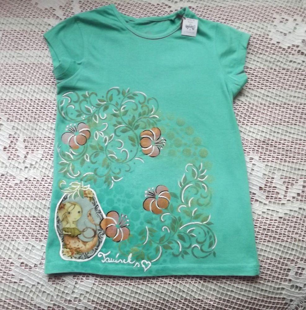 Ručně dekorované zelené bavlněné tričko s krátkým rukávem - santoro mořská panna velikost 122