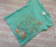 Rovné tričko ručně dekorované s panenkou Santoro, šablonování, lepení - velikost 104 délka 40cm, šířka 32cm