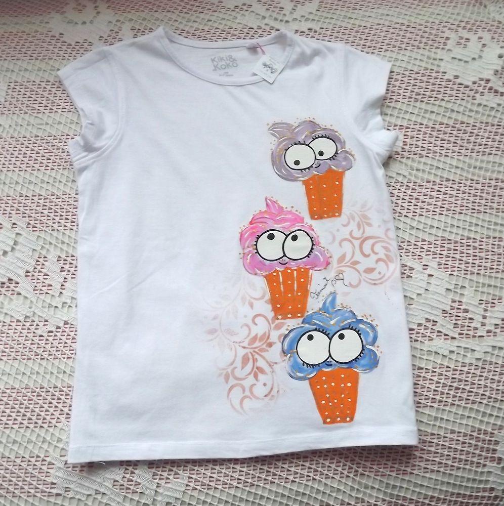 Bílé bavlněné tričko s veselými zmrzlinkami - velikost 122