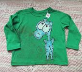 Hrošík 2. - ručně malované zelené bavlněné tričko s dlouhým rukávem - velikost 98
