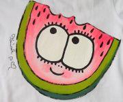 Veselé ručně malované dívčí tričko s melounkem velikost 92