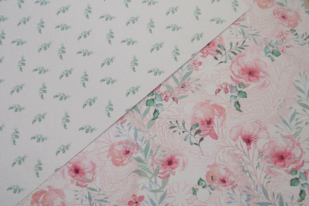 Romantická květinová čtvrtka - rub a líc