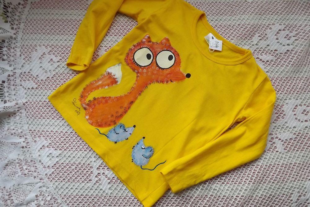 Veselé žluté bavlněné tričko s dlouhým rukávem velikost 104 s liškou a myškou
