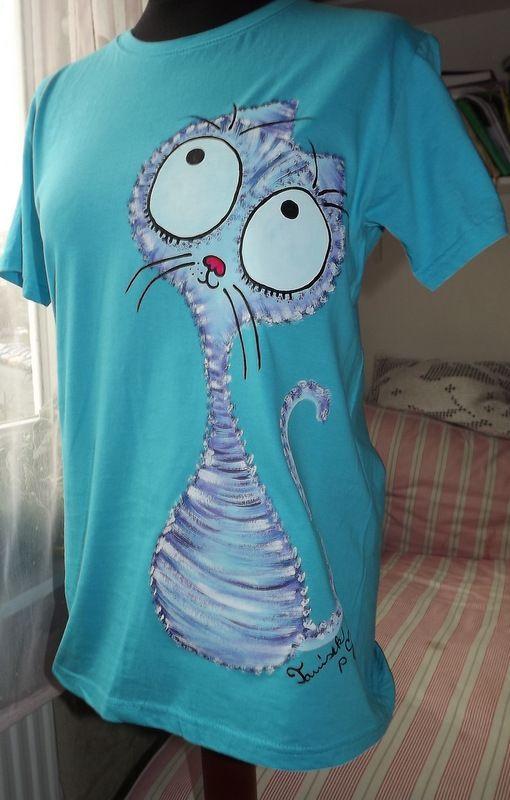 Tyrkysové tričko s ručně malovanou modrofialovou kočičkou. Veselé, krátký rukáve,100% bavlna