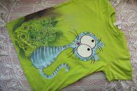 Zelené tričko s veselou modrozelenou kočičkou velikost s - krátký rukáve, 100% bavlna