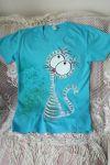 Tyrkysové tričko - ručně malovaná veselá kočička na tričku s krátkým rukávem velikost M