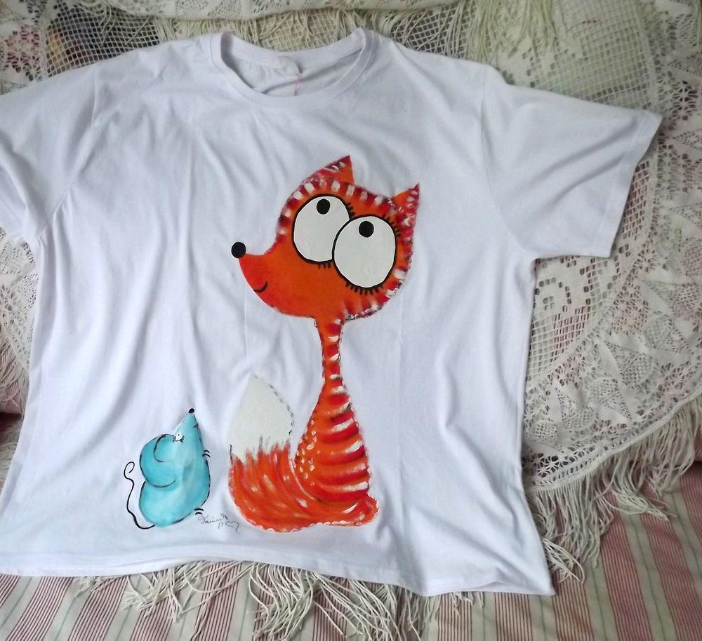 ručně malované tričko s liškou a myškou, bavlna, velikost 3xl,