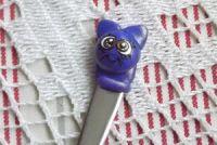 Kočička 3. - ručně modelovaná a malovaná krátká mocca lžička