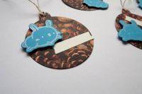 Modrý - stříbrný králíček na šiškové jmenovce - sada 5ks