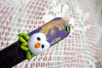 Ručně modelovaná vidlička zlato fialová s bílou sovou. Dlouhá fimo lžička