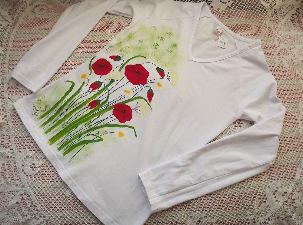 Louka - ručně malované tričko ve velikosti S, s vlčími máky,trávou, bršlicí kozí nohou,kopretinami, dlouhý rukáv