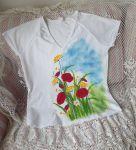 Louka s nebem - ručně malované tričko s motivem louky - s vlčími máky, bršlicí, kopretinamit xL
