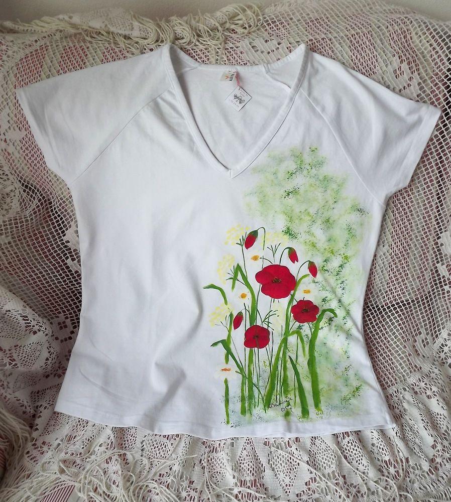 Louka - ručně malované tričko s motivem louky - s vlčími máky, bršlicí, kopretinamit xL