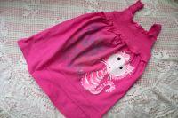 Bíle lemovaná - růžová tunika s ručně malovanou kočičkou velikost 128