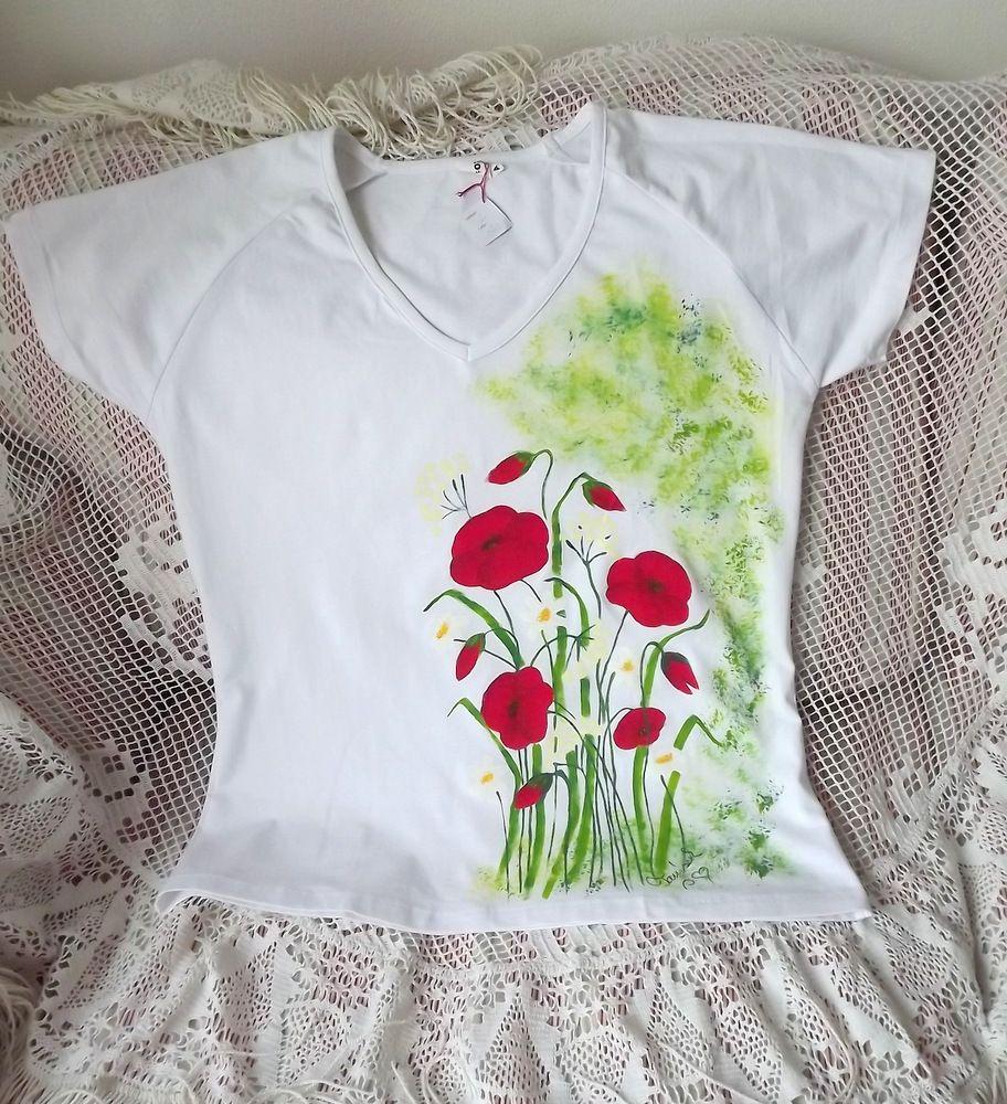 Louka namalovaná na bílé dámské tričko o velikosti L - krátký rukáv