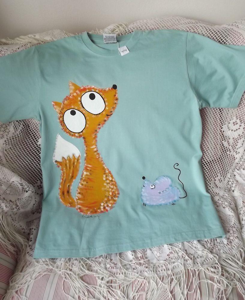 Ručně malované světle tyrkysové bavlněné triko s krátkým rukávem a malovanou liškou a myškou velikost XL