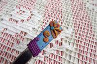 4.. medová - ručně modelovaná lžička s medovými květy a snovým pozadím