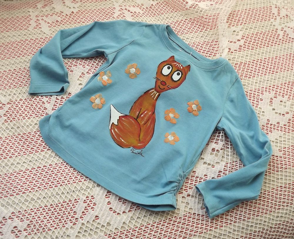 MOdré bavlněné tričko s ldouhým rukávem a namalovanou liškou velikost 92