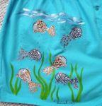 Ručně malované tyrkysové trenýrky se zlatými rybkami v akváriu velikost XxL