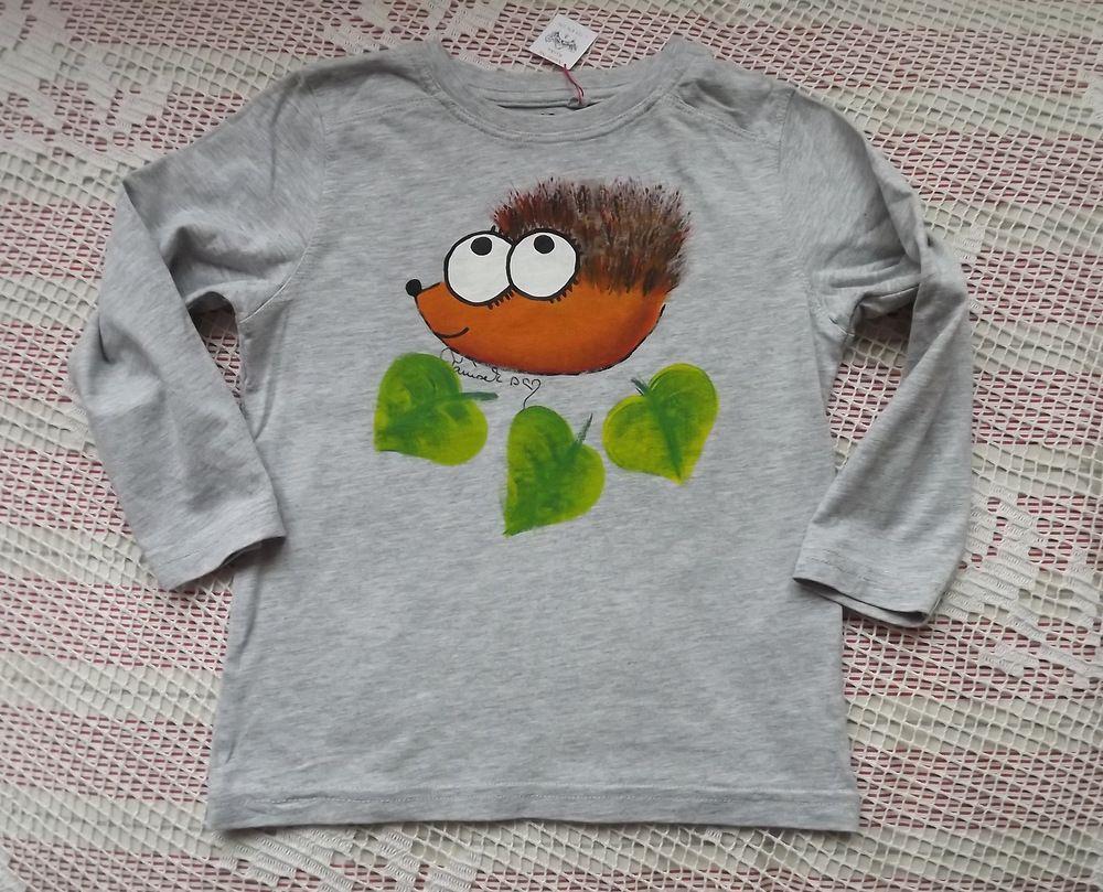 Veselý ježek ručně malovaný na bavlněném šedě melírovaném tričku - velikost 98
