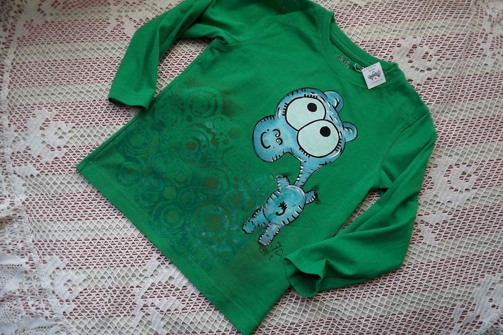 Hroch 2. zelené bavlněné tričko s dlouhým rukávem velikost 104 - ručně malované