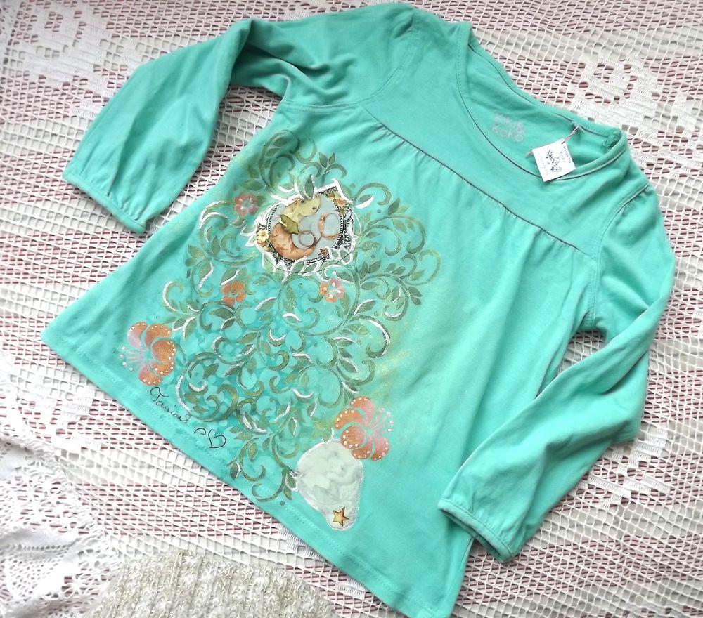Mořská víla - ručně dekorované triko - kombinace technik (šablonování, lepení, malování, velikost 98