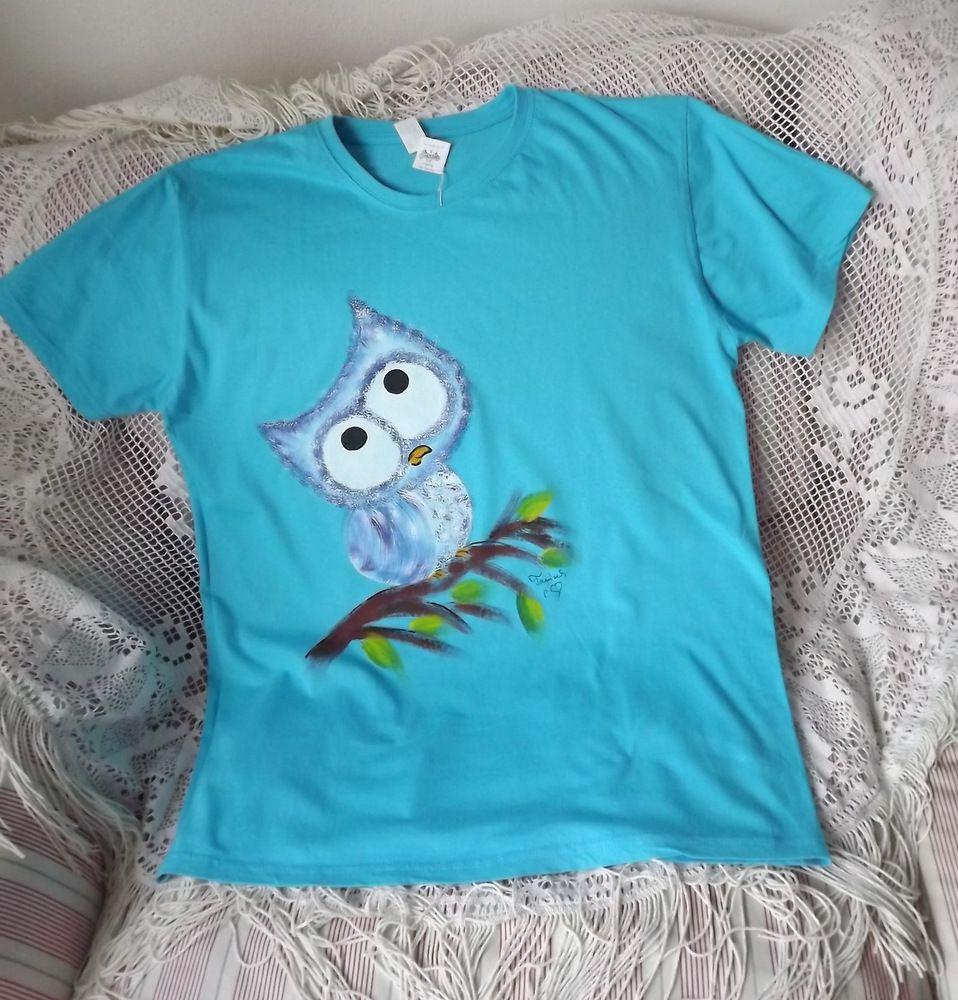 Vtipná sova na tyrkysovém tričku velikost L