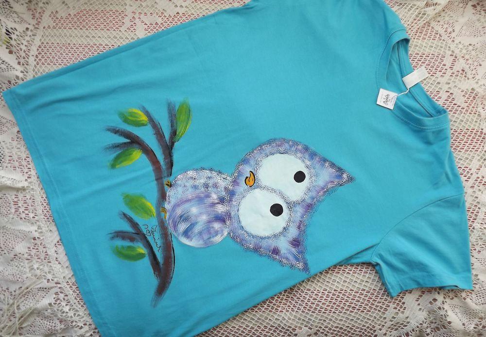 Sova na tyrkysovém tričku ručně malovaná, krátký rukáv, 100% bavlna, veselé