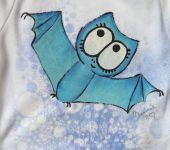 Bavlněné body s ručně namalovaným netopýrem velikost 92