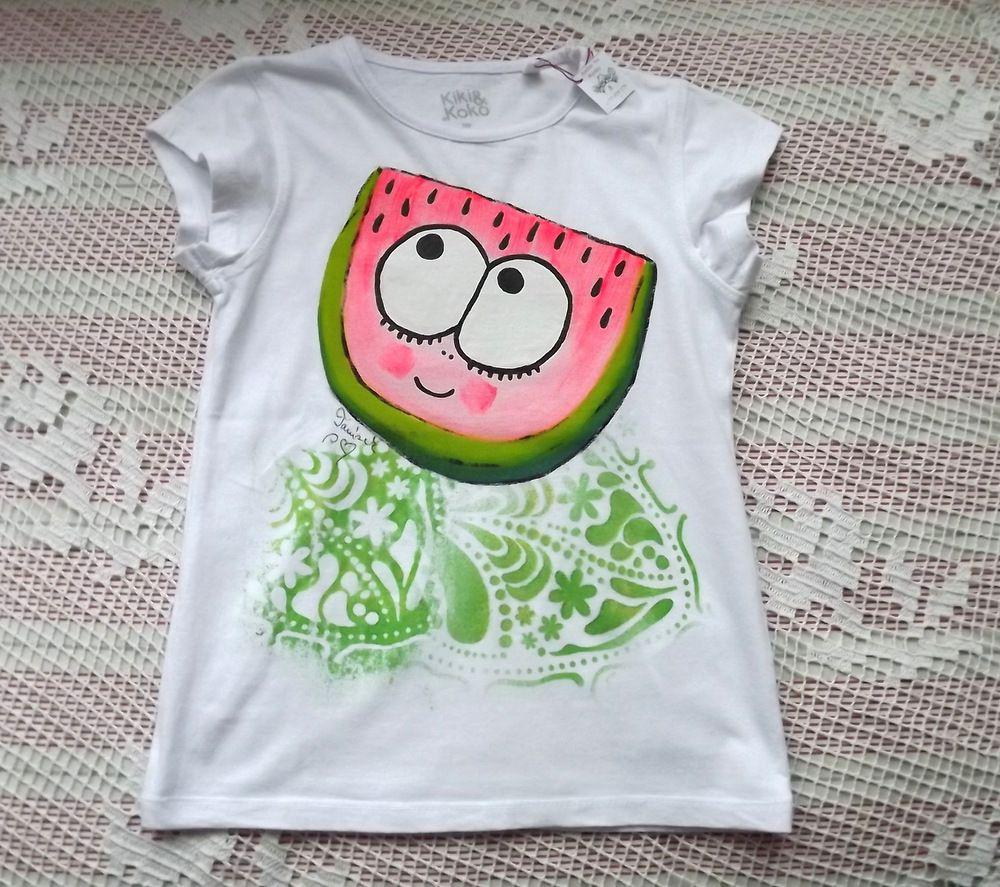 Sťavnatý, veselý meloun ručně namalovaný na bílé dívčím bavlněném tričku s krátkým rukávem velikost 122