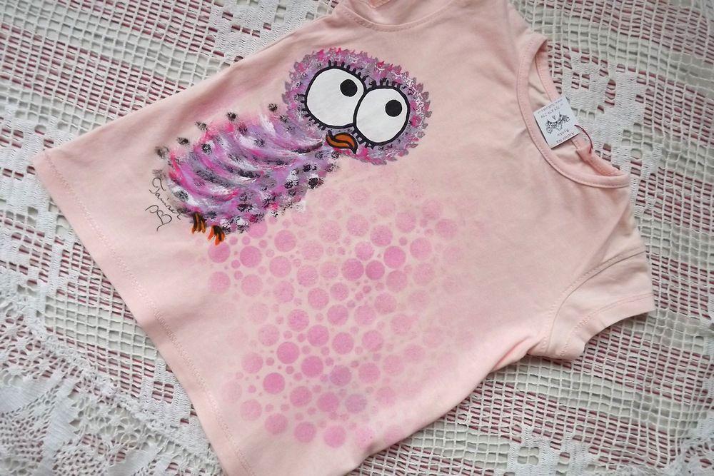 Sova pálená- bavlněné růžové tričko s krátkým rukávkem ručně malované velikost 92