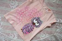 Výr ušatý - bavlněné růžové tričko s krátkým rukávkem ručně malované velikost 92