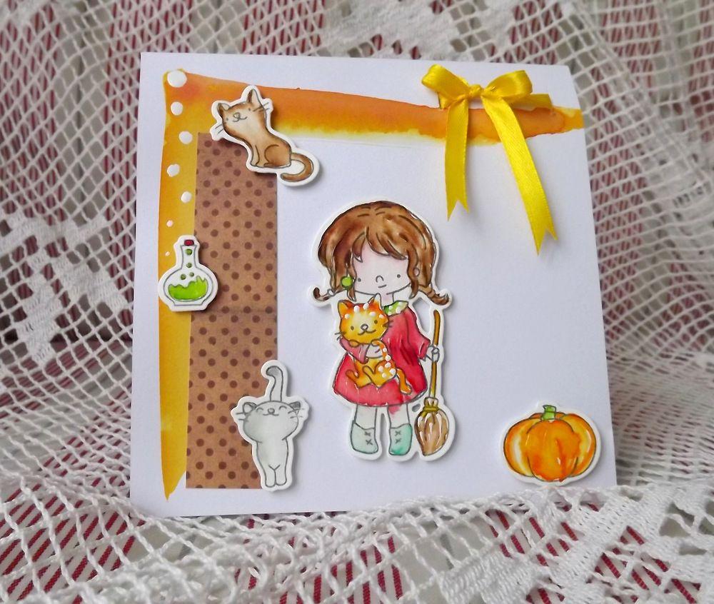 Malá čarodějka - plastiké přání (blahopřání) s dívenkou, kočičkami,dýní a lektvarem cardmaking