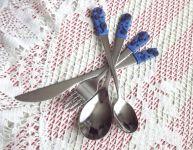 Příbory modrý s ornamenty 2. - fimem dekorovaný příbor - nůž, vidlička, lžíce, lžička