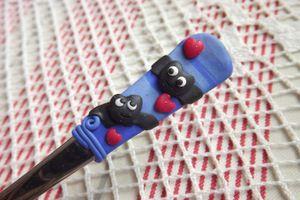 Netopýři zamilovaní - Polévková lžíce s FIMO dekorací netopýrů