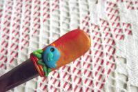 Ptáček 2. na oranžovozlatém podkladu - fimem dekorovaná lžička dlouhá 17cm.