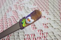 Sova 1. - ručně modelovaná dlouhá lžička s bílou sovou