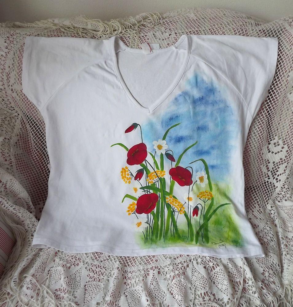 Ručně malované bavlněné triko s krátkými rukávy - velikost xxl - romantická rozkvetlá louka
